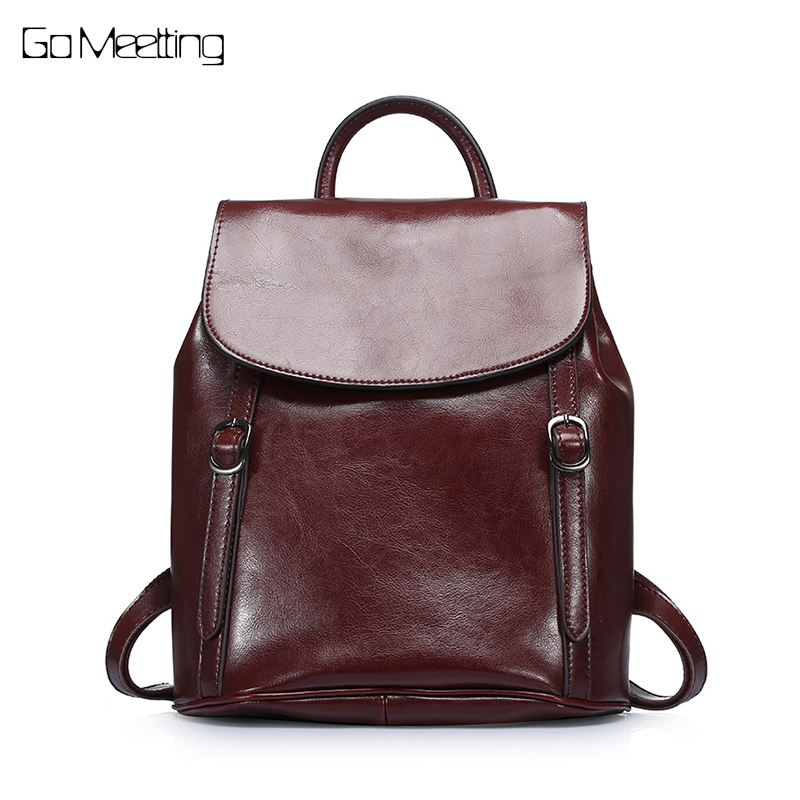 Vintage Women Backpack Genuine Oil Wax Cow Leather Backpack For Teenage Girls School Bag Large Capacity Shoulder Bags Back Pack kajie famous brand designer backpack for women 2018 retro genuine leather female back pack oil wax cow leather ladies travel bag