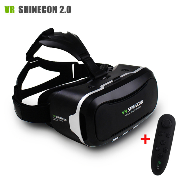 """New VR Shinecon II 2.0 Helmet Cardboard Virtual Reality Glasses Mobile Phone 3D Video Movie for 4.7-6.0"""" Smartphone with Gamepad"""