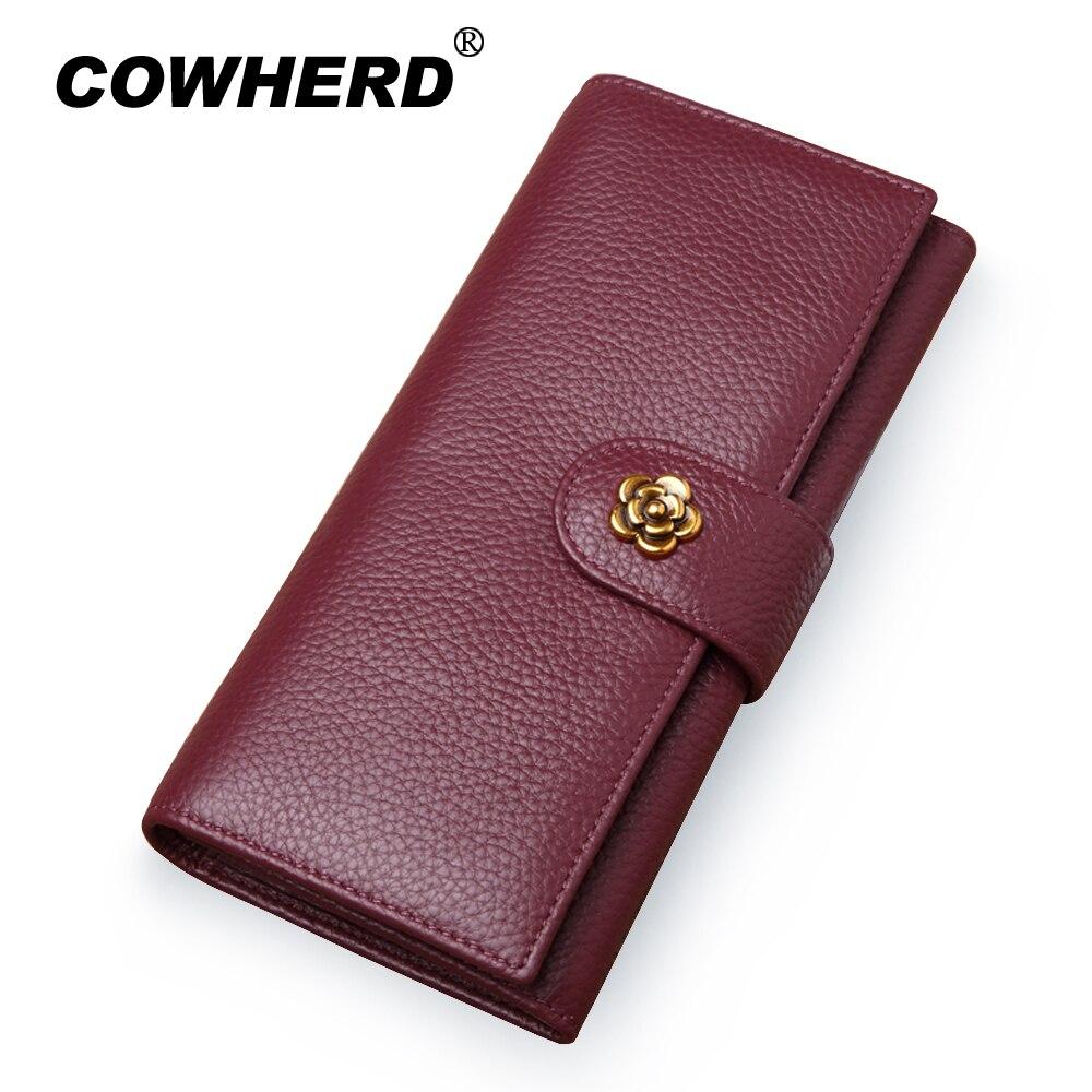 COWHERD Soft Genuine Cow Leather Women Wallets Brand 2019 New Design Fashion Flower Hasp P