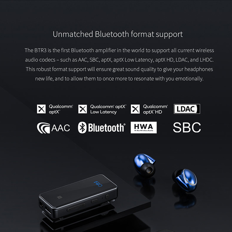 FiiO BTR3 CSR8675 AK4376A USB DAC Portable Bluetooth APTX HD LDAC LHDC Type C 3.5mm Amplifier for i phone / Android phones / PC