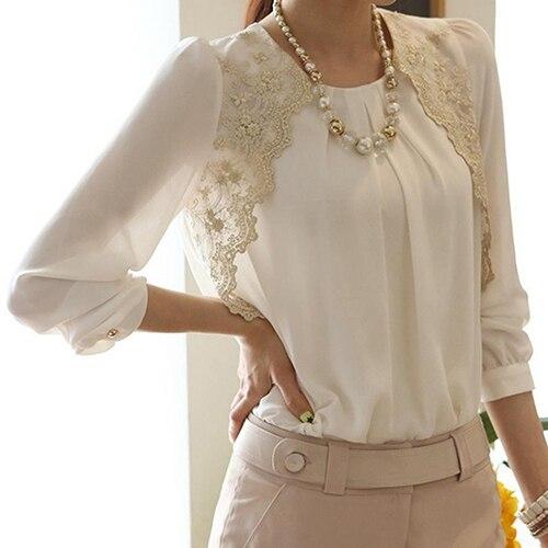 7d41d54059b Женская мода корейский стиль лето шифон Кружева Повседневная блузка рубашка  Лето Скидка Лето скидка