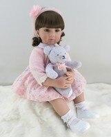 60 см силиконовые возрождается девочка игрушки куклы Винил розовый принцессы для малышей куклы с медведем подарок на день рождения для дево