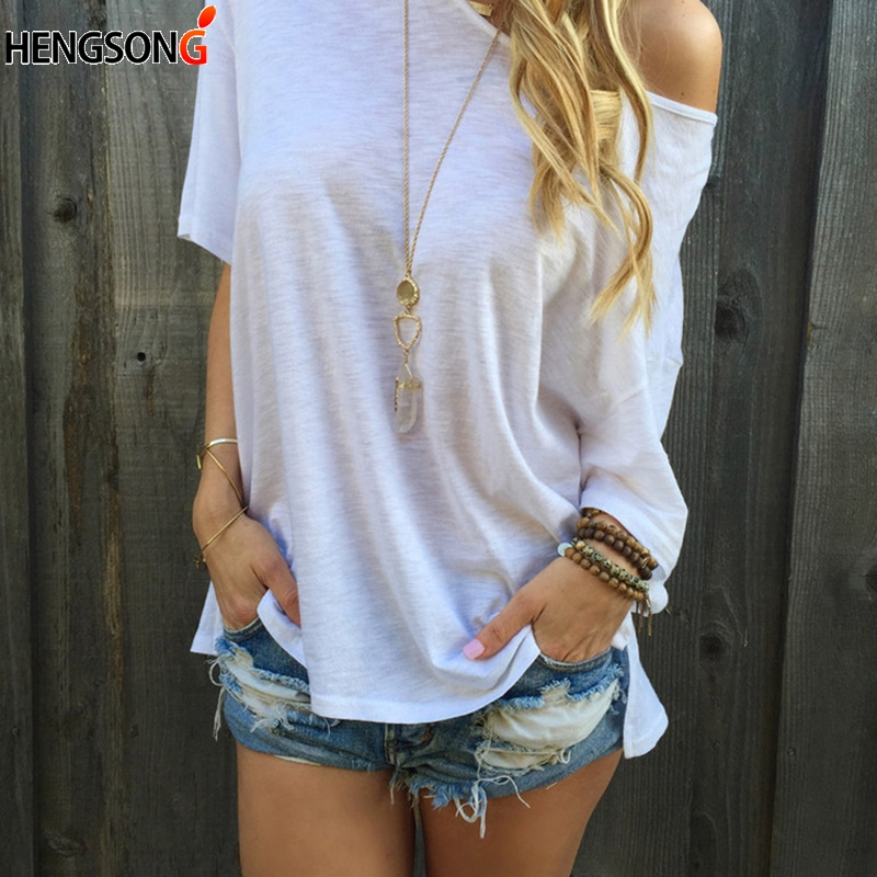 New Femme T-shirt 2018 Summer Sexy One Shoulder Tops For Women T-Shirt Casual Half Sleeve Solid Color Loose Tops