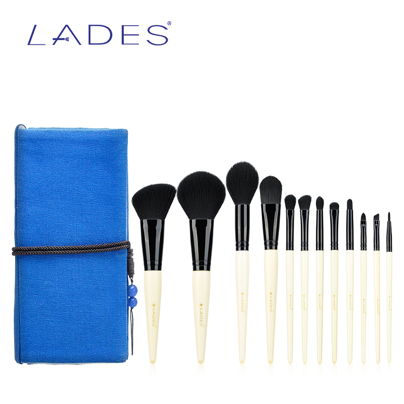 LADES Pro 12pcs Makeup Brushes Set Powder Foundation Eyeshadow Make Up Brush Cosmetics Soft Synthetic Hair With Blue Cloth Bag 12pcs makeup brushes set powder foundation eyeshadow tool makeup brush set dropship 11 1