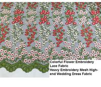 Multicolour small flower embroidery cloth lace net fabric high quality wedding dress clothes fabric