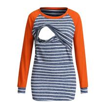 Spring and autumn long-sleeve color matching striped T-shirt pregnant women breastfeeding shirt round neck pregnancy T-shirt