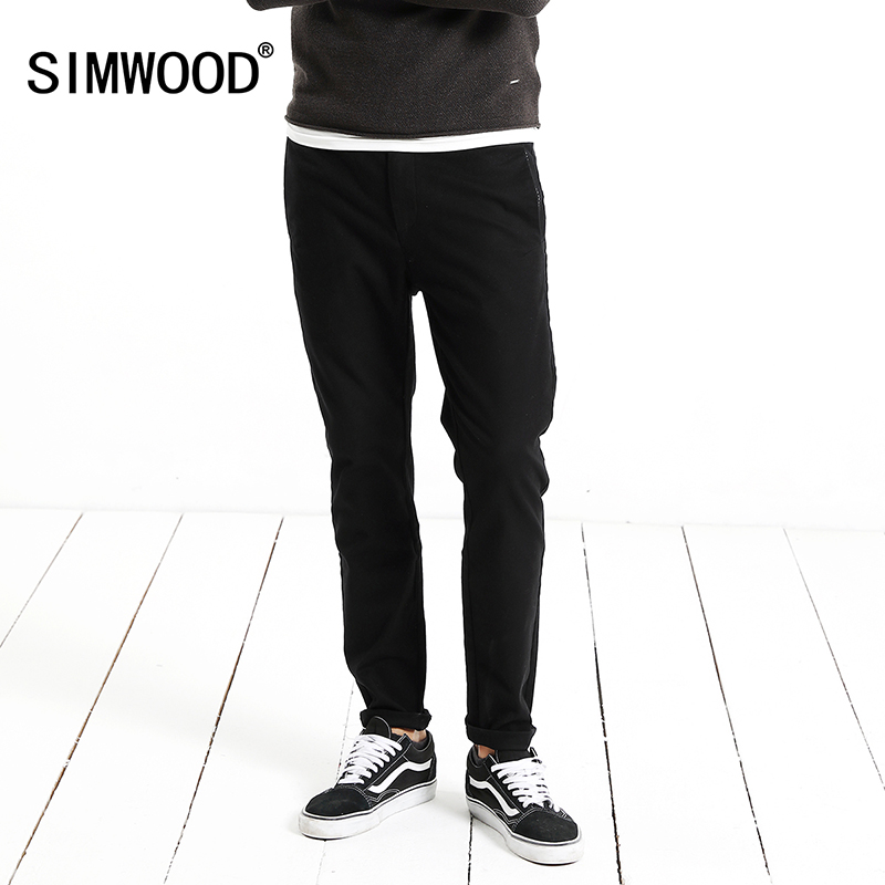 SIMWOOD New Brand Causal Pants Men 2018 Spring Slim Fit Plus Size Men Black Trousers High Quality Brand Clothing XC017047 2018 brand new spring