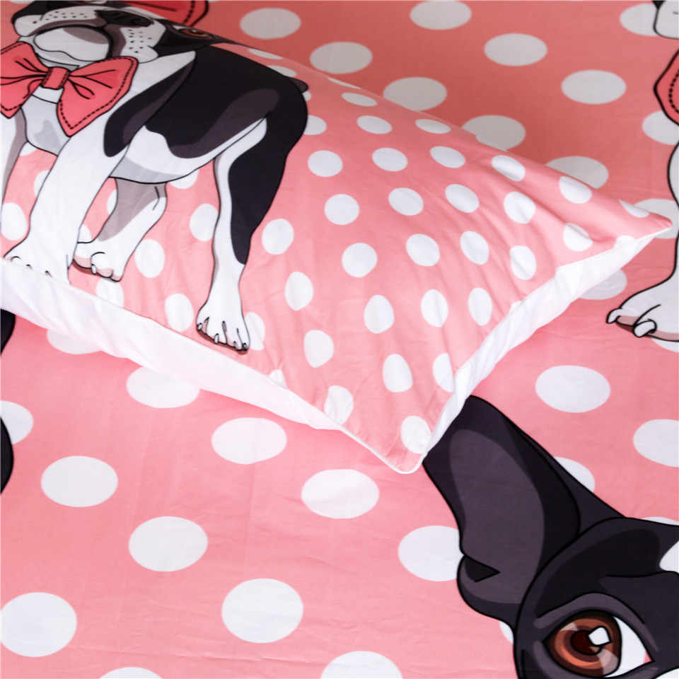 Постельные принадлежности, Комплект постельного белья с галстуком-бабочкой и бульдогом, розовый Детский Комплект постельного белья с рисунком из мультфильма, пододеяльник King size, постельное белье с принтом собаки Мопса
