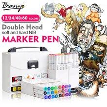 Bianyo 60 Colori Doppia Testa Pennello Disegno Sketch Marker Impostato Per Lalta Qualità Marcatore Artista Scuola di Pittura Articoli Per il Disegno