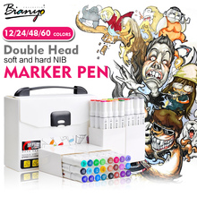 Bianyo 60Colors Double Head Sketch Marker Set For High Quality Design Brush Marker Artist School Painting Drawing Supplies