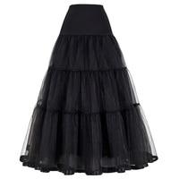 אדום שחור נשים רטרו ארוך בציר אופנה חצאית לחתונה חצאיות כדור שמלת האימפריה וואל טול תחתונית קרינולינה תחתוניות