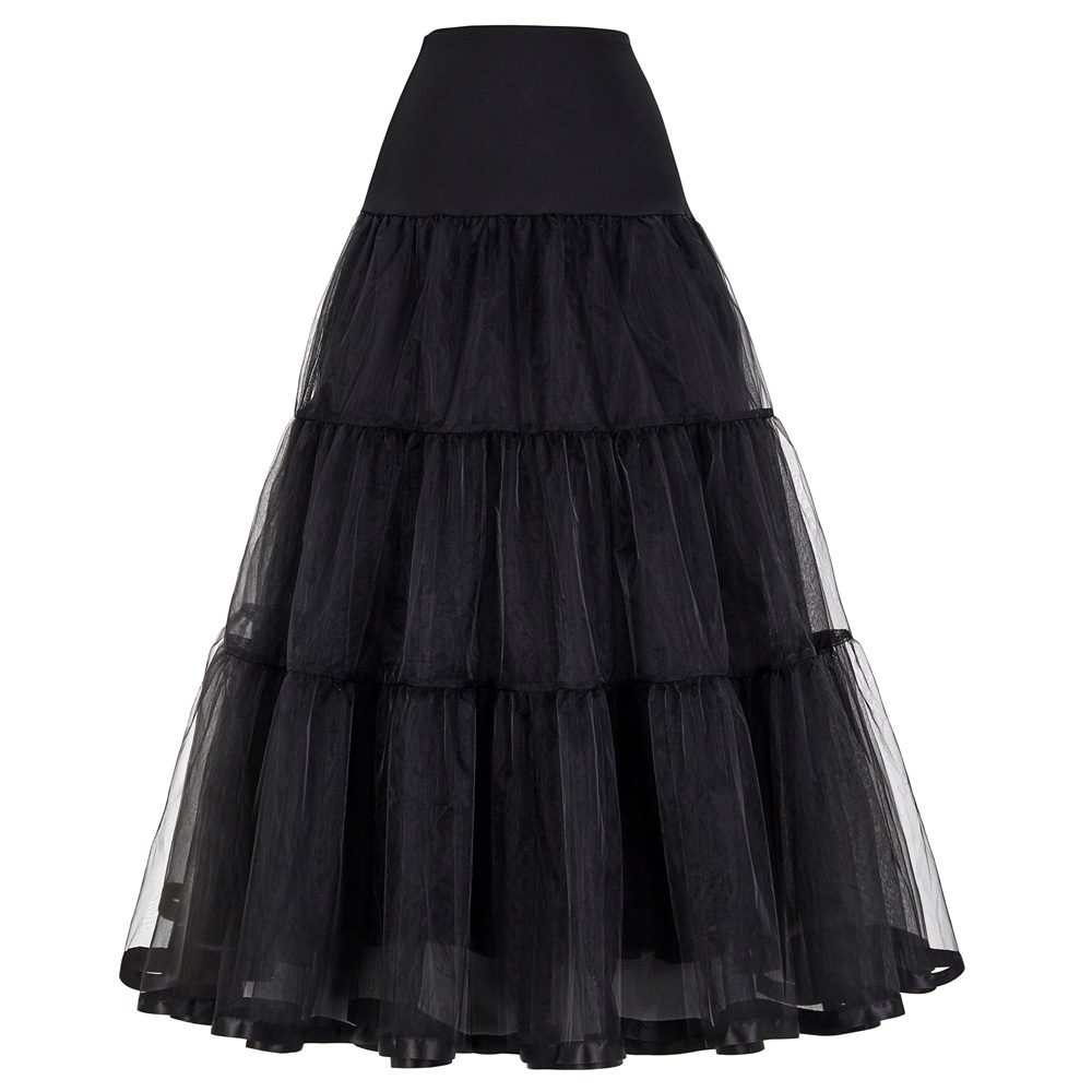 Women Black Red Retro Skirt For Wedding Fashion Vintage Long Skirts Crinoline Underskirt Ball Gown Empire Voile Tulle Petticoat