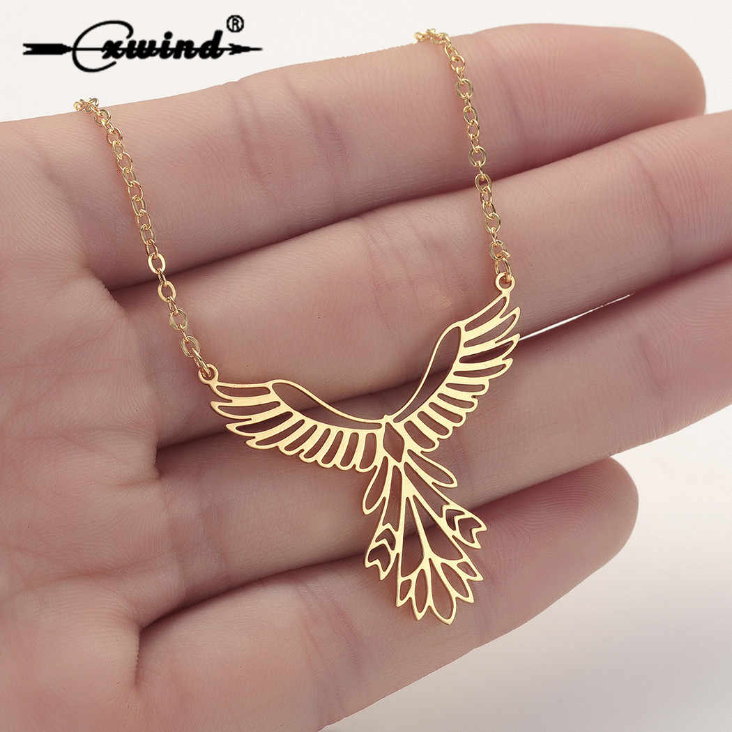 Cxwind New Phoenix Bird Necklaces for Women Men Charm Geometric Animal Chain Necklace Pendant Stainless Steel Choker Jewelry