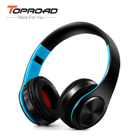 TOPROAD Wireless Headset Shocking Stereo Sound Bluetooth Headphone Support FM Radio TF Line In Handsfree For