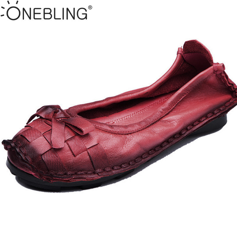 Fashion Genuine Leather Women Shoes 2017 Spring Autumn Shallow Soft Slip-on Casual Flat Shoes Female Woven Bowknot Loafers cresfimix zapatos women cute flat shoes lady spring and summer pu leather flats female casual soft comfortable slip on shoes