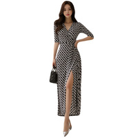 Summer Women Loose Dress 2019 Plus Size Black Half Sleeve V neck Ankle length Casual Print Dress Office Lady Long Dresses Elbise
