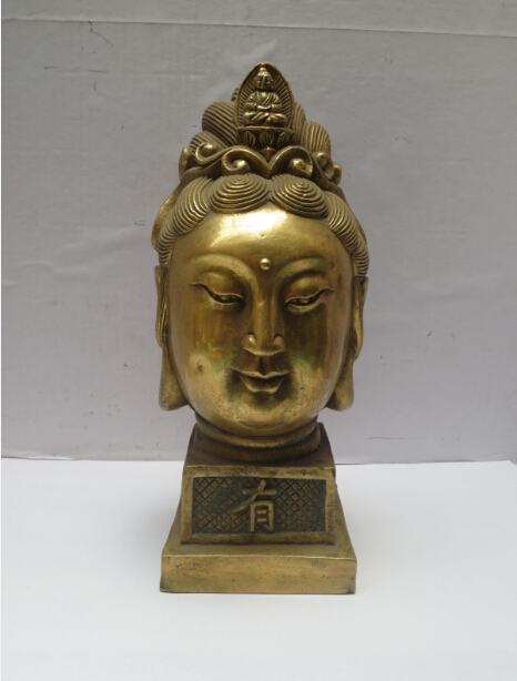 High 7inch Metal Crafts Home Decoration Chinese Brass Carved Buddha Sculpture/Tibetan Buddha Statue Fast Shipping
