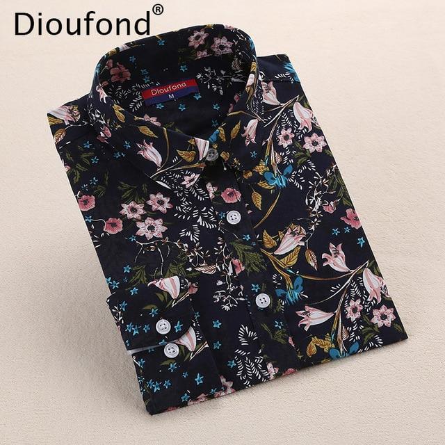 Dioufond Богемия Для женщин блузки рубашка с длинными рукавами Для женщин летние топы с отложным воротником Блузка рубашка плюс Размеры 20 Цвета