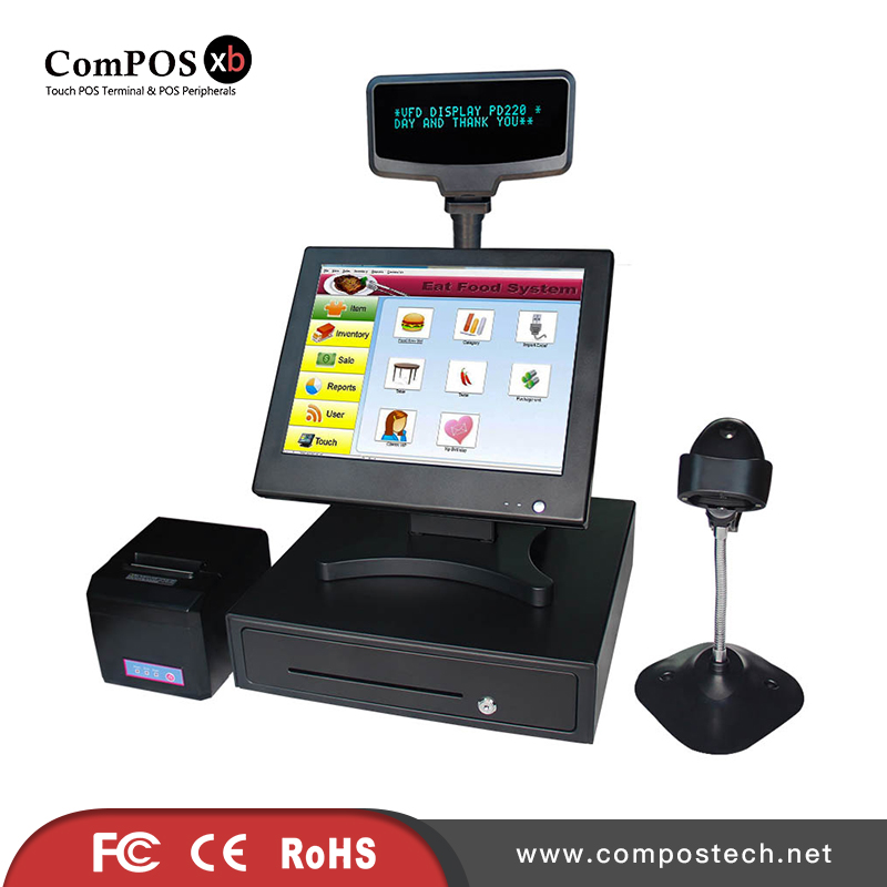 cash register Factory supermarket cash register POS system pos system/pos terminal with cash drawer/scanner/receipt printer