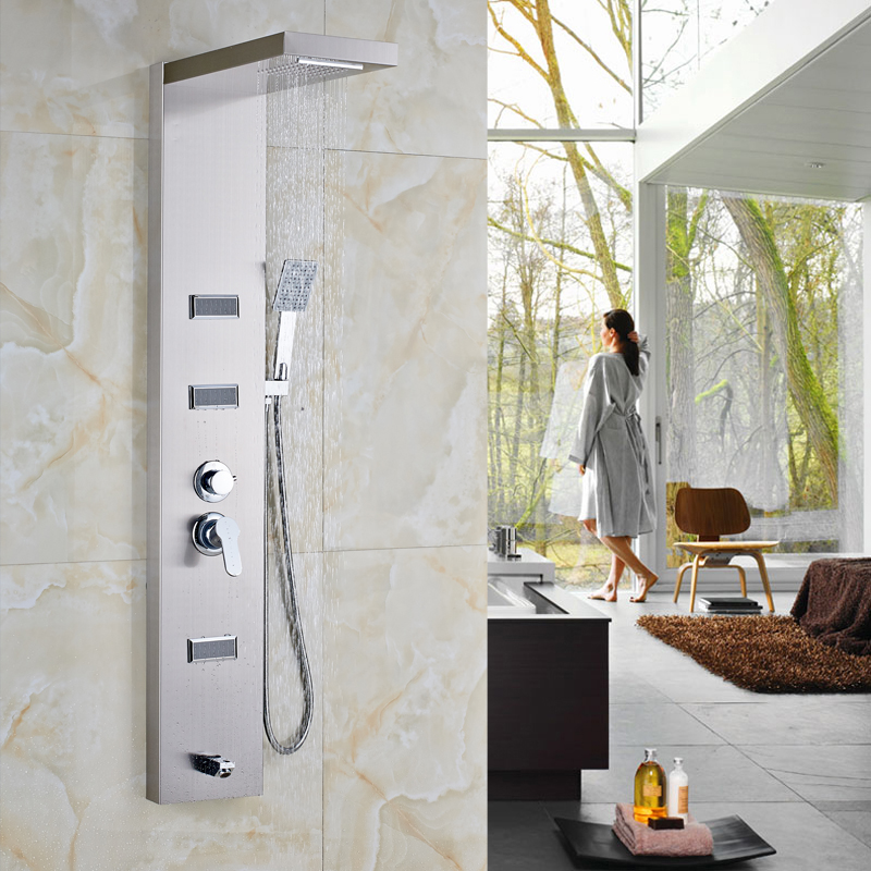 Bathroom Rain Waterfall Shower Panel Body Massage Jets System Stainless  Steel Shower Towel Column Wall Mounted Shower Faucet In Shower Faucets From  Home ...