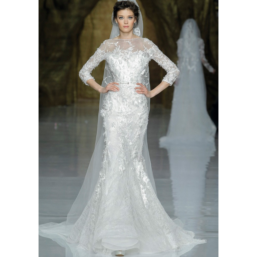 Fashionable 2017 long sleeves lace appliques mermaid for Zuhair murad wedding dress