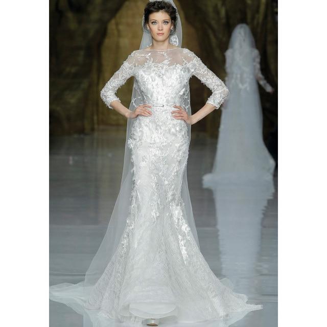 Fashionable 2017 Long Sleeves Lace Appliques Mermaid Zuhair Murad Wedding Dresses Custom Made Bridal Gown Dress