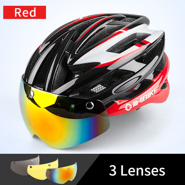 INBIKE Cycling Helmet Bicycle Helmet with Cycling Glasses Ultralight Integrally-molded Road MTB Helmet Casco Ciclismo IH16710