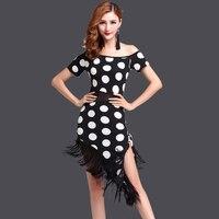 2018 Women Sexy Tasseled Dots Print Latin Salsa Competition Dancing Dress Costume 2 Pieces Set Dot Pattern Ballroom Dance Dress