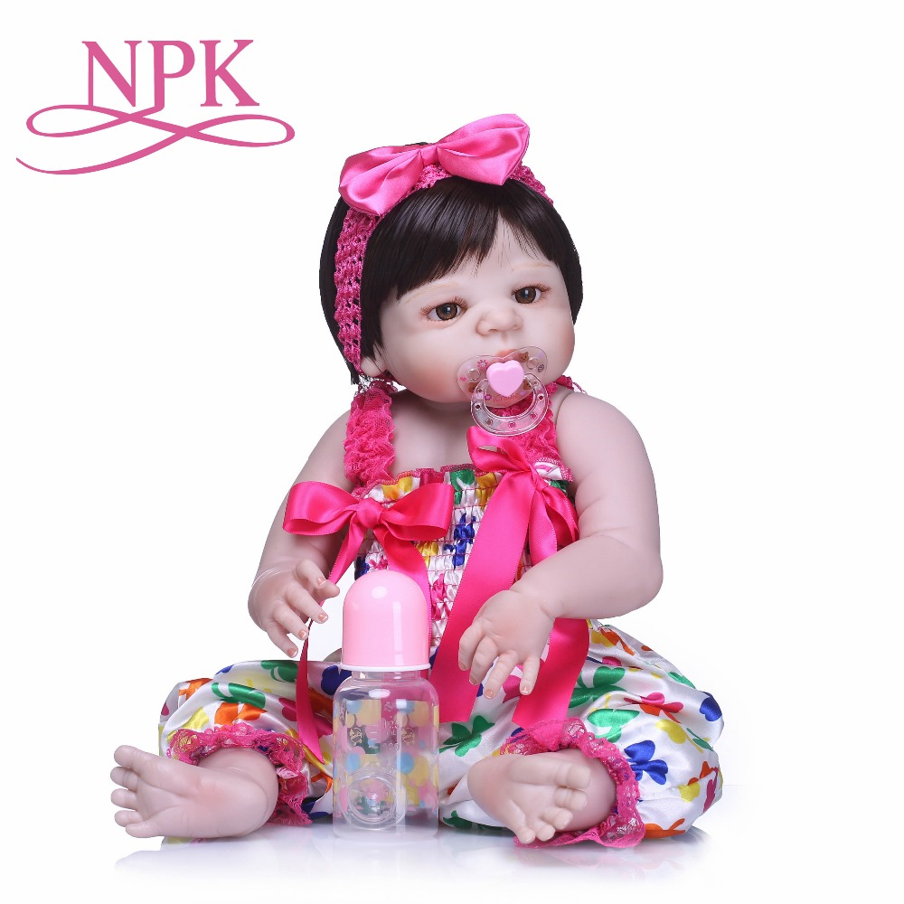 NPK Reborn Baby Doll Full Body Silicone Vinyl Adorable Lifelike Toddler Baby Bonecas Girl Kid Bebe Reborn Dolls Toys on Birthday npk 50cm 100% full silicone silicone reborn baby girl dolls lifelike fake baby doll bebe alive reborn bonecas children toys