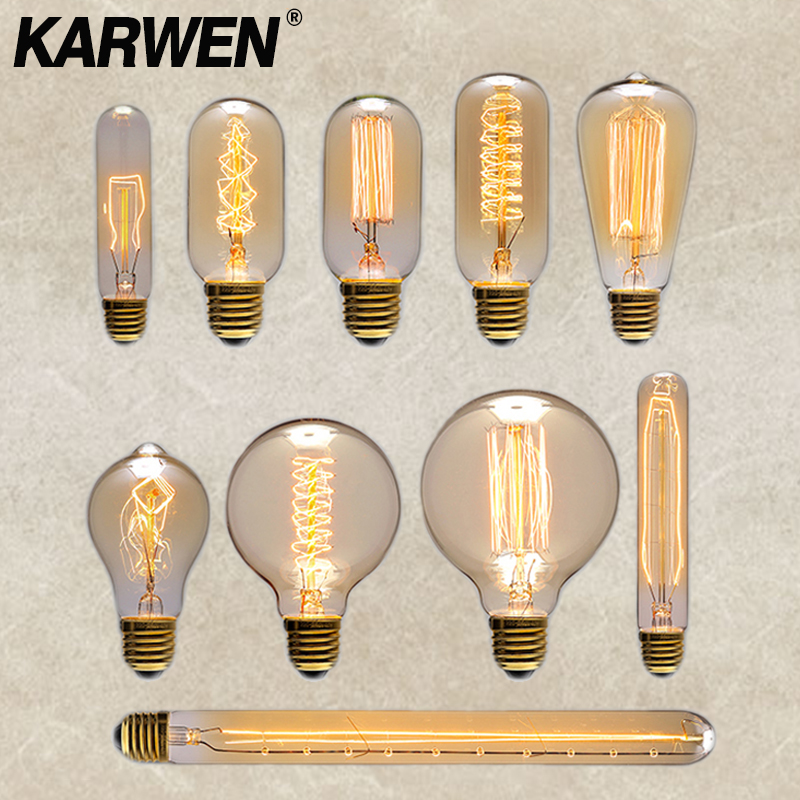 6PCS/lot Retro Edison Bulb E27 40W Incandescent Lamp 220V ST64 A19 T45 T10 G80 G95 Ampoule Vintage Edison Bulb Filament Light