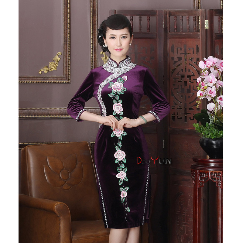 NEW Purple Vintage Chinese Lady Embroidery Handcraft Beads Cheongsam Top Chinese Elegant Charming Qipao Dress Size S M L XL XXL