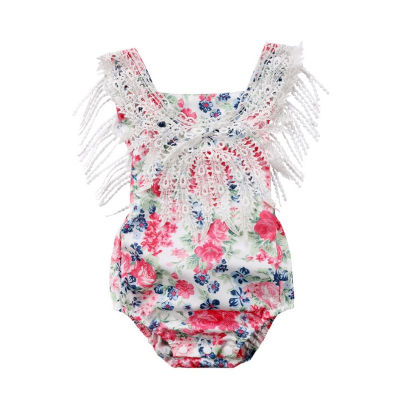 2018 Summer Newborn Infant Baby Girls Lace Floral Princess Romper Sunsuit Clothes Outfits Kids Clothing