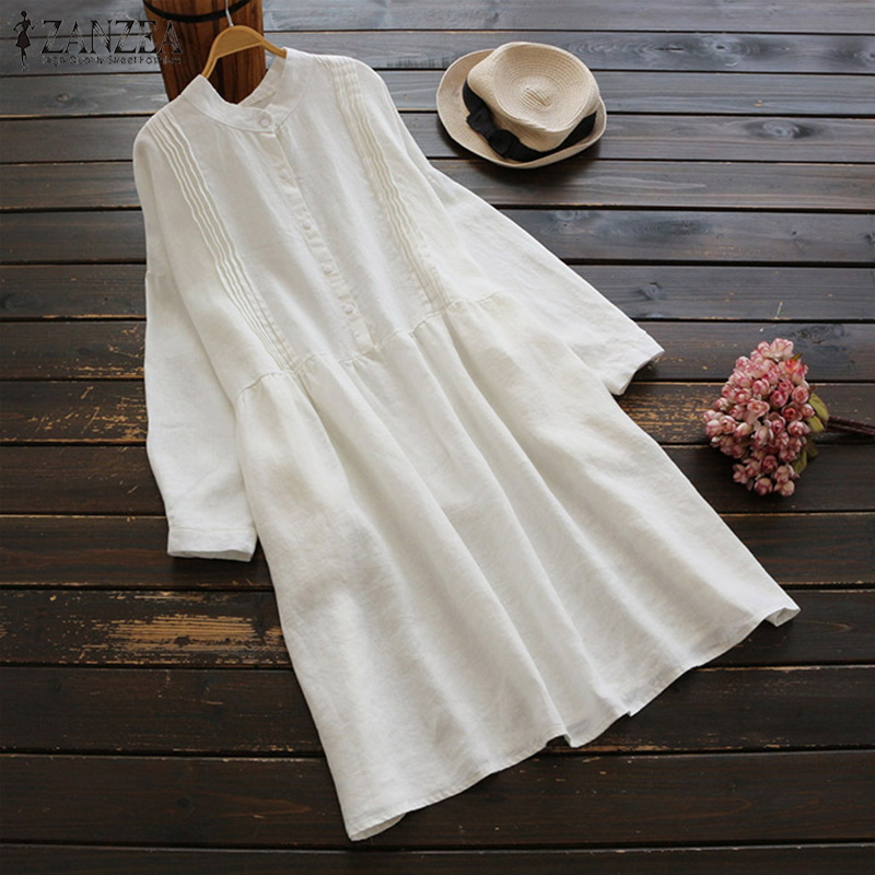 2018 ZANZEA Autumn Button Pleated Vestidos Women Linen Shirt Dress Vintage Female Long Sleeve Sundress Boho Casual Long Tops