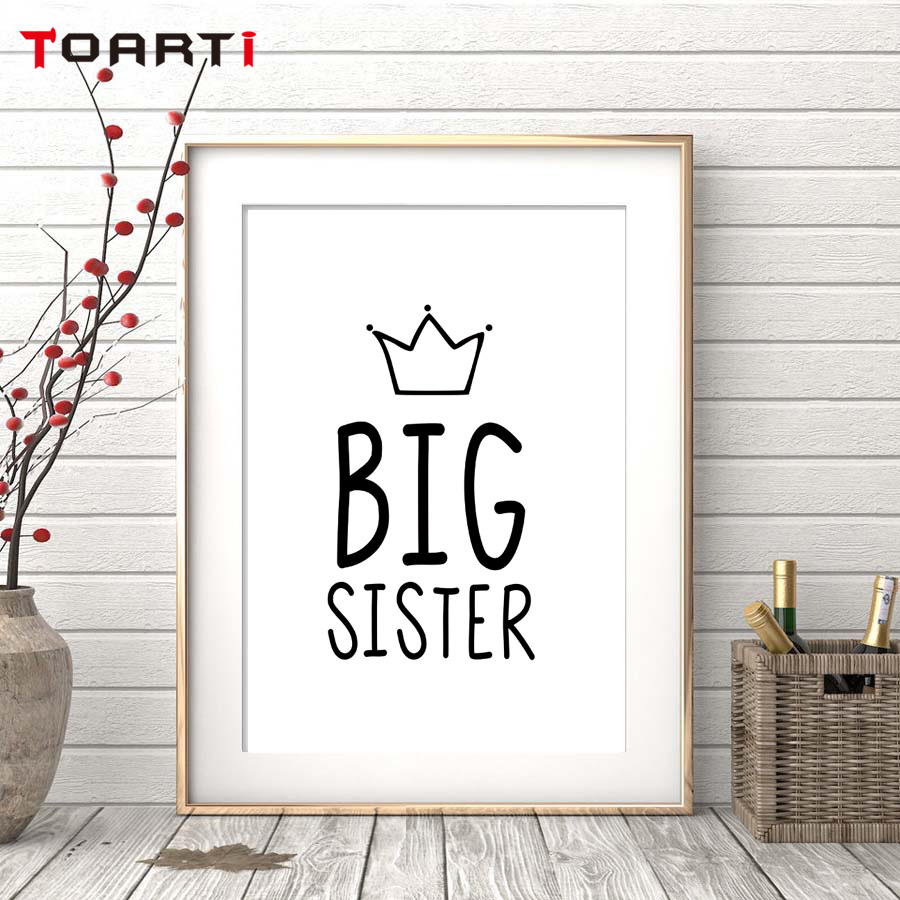 Wall Decor Home Goods: Big Sister Quote Crown Wall Art Poster&Print Modern Home