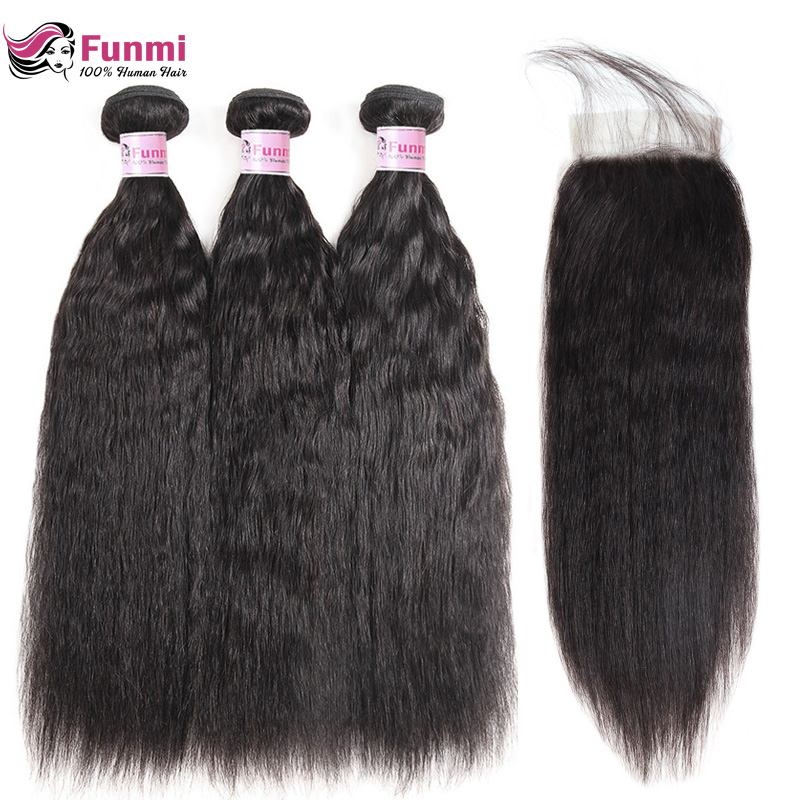 Funmi Kinky Straight Hair Bundles With Closure Brazilian Hair Weave Bundles With Closure Virgin Human Hair Bundles With Closure
