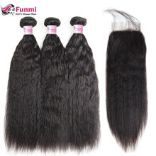 Funmi Kinky Straight Hair Bundles With Closure Brazilian Hair Weave Bundles With Closure Virgin Human Hair Bundles with Closure(China)