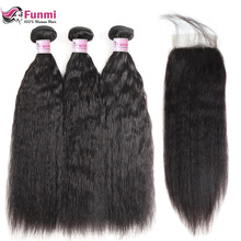 hot deal buy kinky straight hair bundles with closure brazilian hair weave bundles with closure funmi virgin human hair bundles with closure