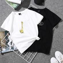 Женская футболка с коротким рукавом, принт, парные футболки, студенты Харадзюку размера плюс, белая женская футболка в полоску