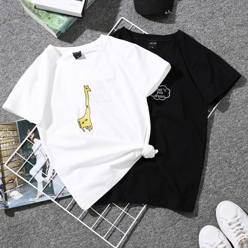 Women Short Sleeve T Shirt Print Couple Tees Harajuku Students Plus Size White Female Graphic Striped T-shirt 2019 Poleras Mujer