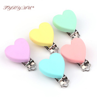 TYRY HU Silicone Teething Clips Holder Stainless Steel Dummy Clips Candy Color Heart Bear Star Pacifier