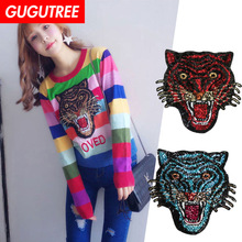 GUGUTREE embroidery Sequins big tiger patches animal patches badges applique patches for clothing XC-277 yeindboo newest wireless headphones sports bluetooth earphone stereo magnetic bluetooth headset for phone xiaomi iphone android