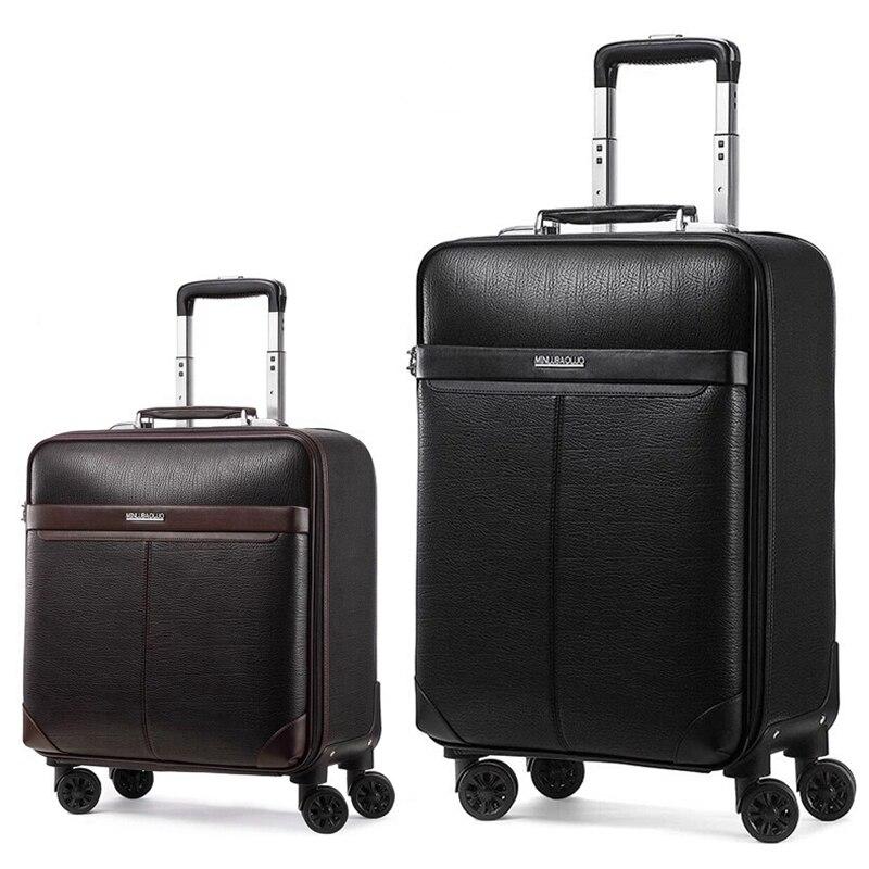New retro men business genuine leather rolling luggage on wheels Cowhide cabin travel trolley bags handbag