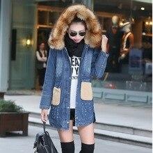 Women Hooded Denim Jackets Fashion Fur collar 2016 Casual Woman Jeans Coats Fake Lambswool Collar Winter