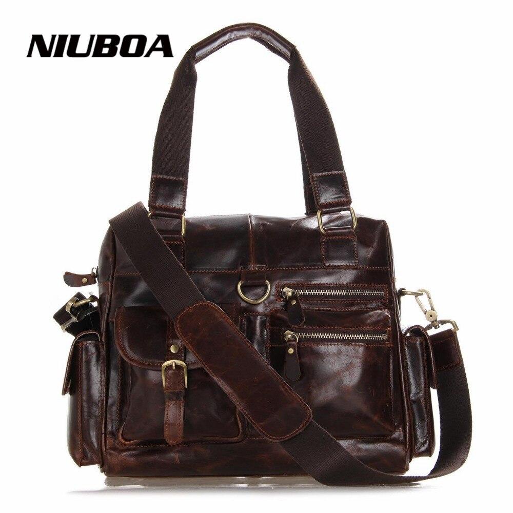 ФОТО Genuine Leather Men Bag Coffee Shoulder Bags High Quality Men Crossbody Messenger Bag Real Leather Handbag Hot Sale Travel Bags