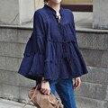 2016 Корейской моды женщины плюс размер блузки белье хлопка с длинным рукавом симпатичные свободные кукла форме крыла летучей мыши топы femme chemisier