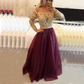 2017 Sexy Long Sleeve Lace Applique Burgundy Prom Dress A-Line Top Gold Beaded Organza  Prom Dress Plus Size