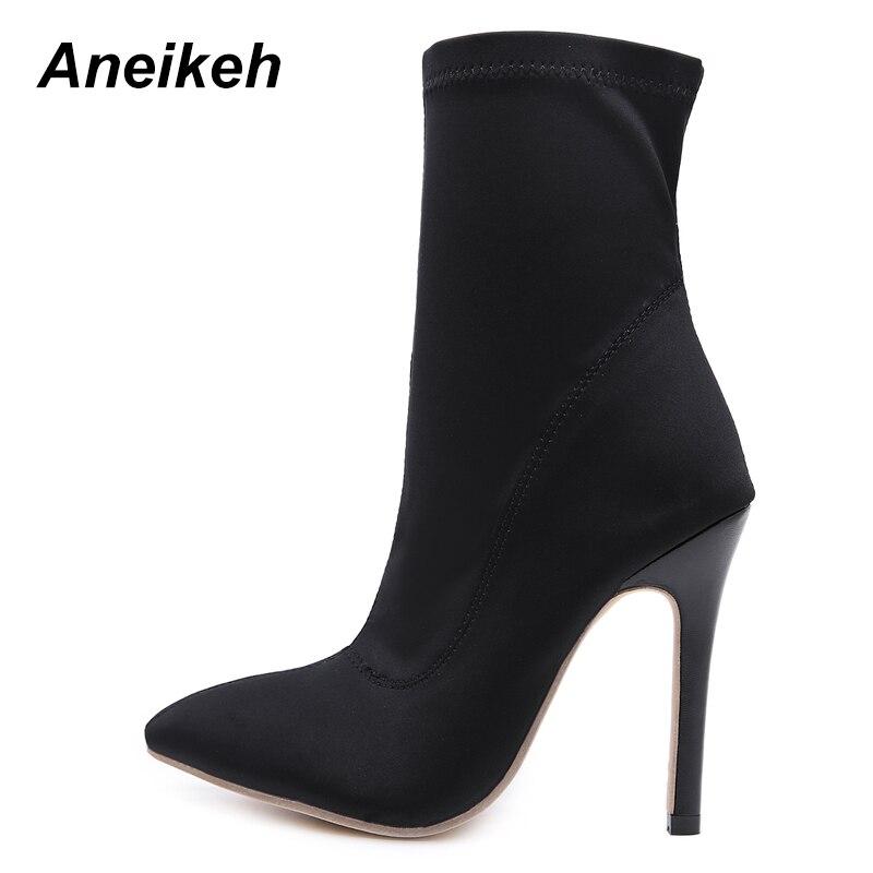 Calcetín Elástica 35 Mujeres Zapatos Punta Botas Mujer Primavera Tamaño De Tela 2018 Cremallera Alto Sexy Aneikeh Tacón Black 40 0IYqx