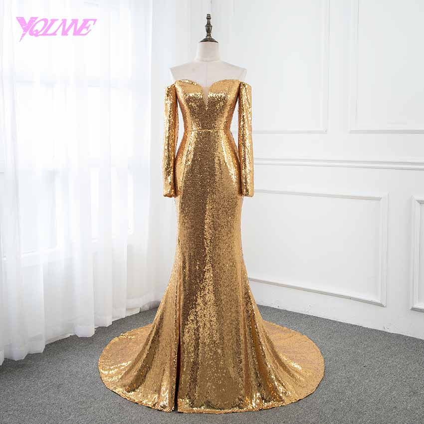 YQLNNE Gold Sequins Long Sleeve   Prom     Dresses   Formal Evening Gown   Dress   2019