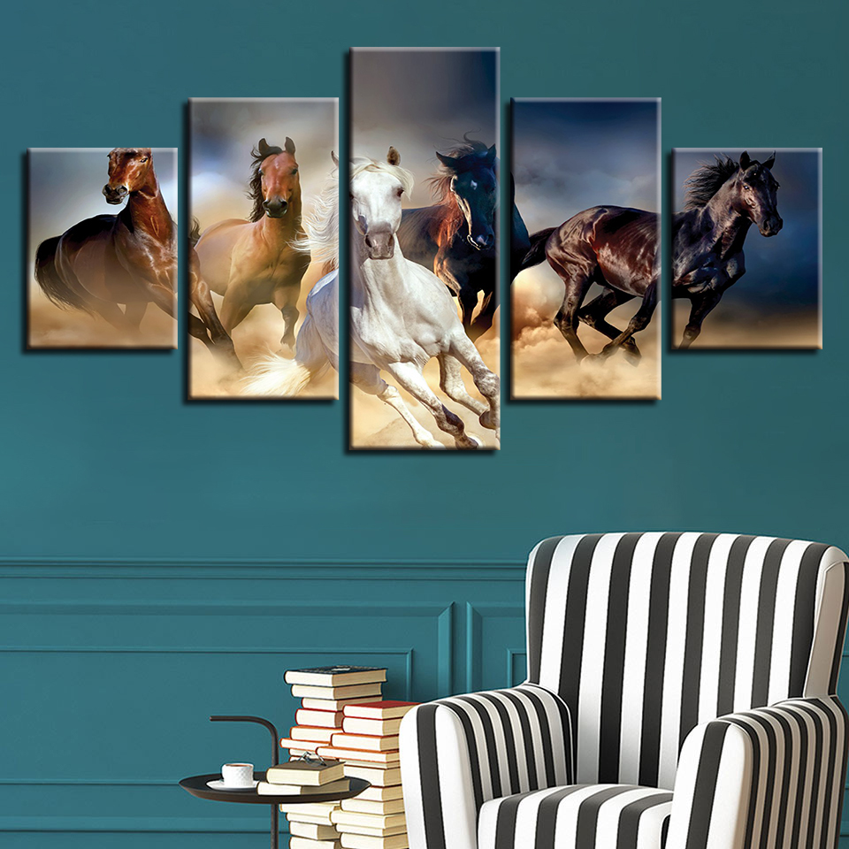 Canvas Printed Scenery Paintings 5 Pieces Animals Horse Running Very Fast Modular Pictures Living Room Wall Art Home Decor Frame no frame canvas