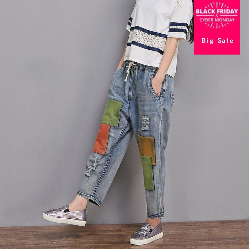 2XL-6XL High-quality   Jeans   2017 spring large size elastic waist   jeans   female Ankle-Length Pants was thin Wide Leg   jeans   wj503